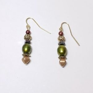 Green Dyed Fresh Water Pearl Earrings (3 for $18)